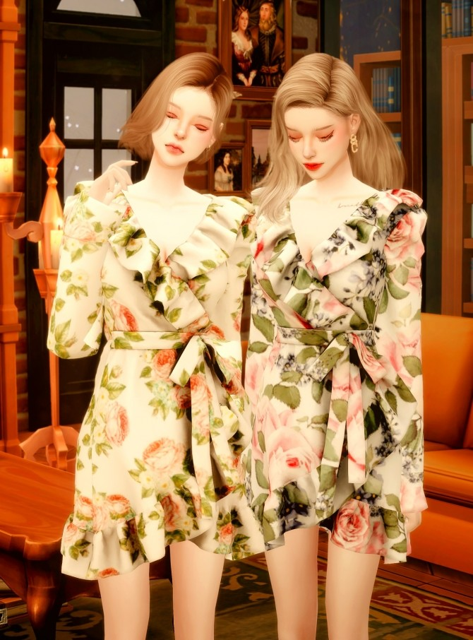 Sims 4 Floral Frill Rap dress at RIMINGs