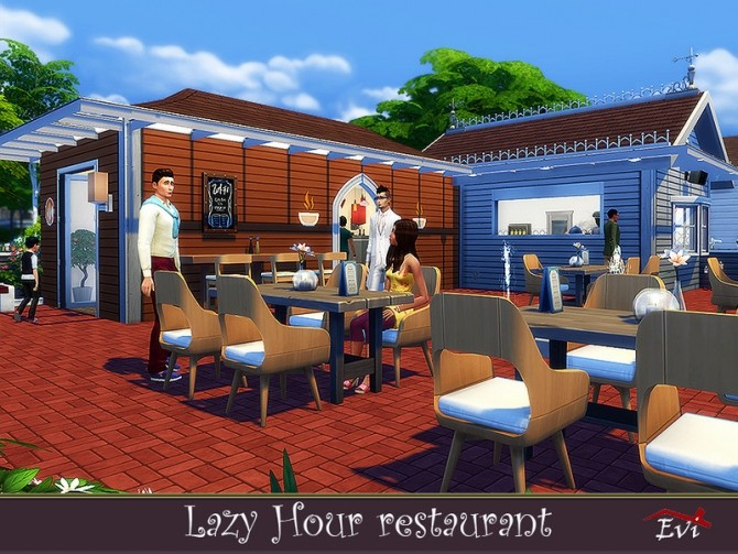 Sims 4 Lazy hour Restaurant by evi at TSR