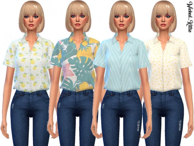 Sims 4 Daisy Tucked Shirts by Wicked Kittie at TSR