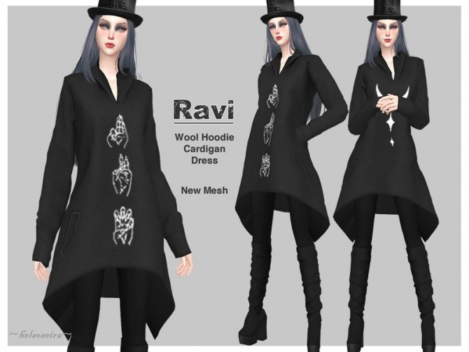Sims 4 RAVI Gothic Cardigan by Helsoseira at TSR