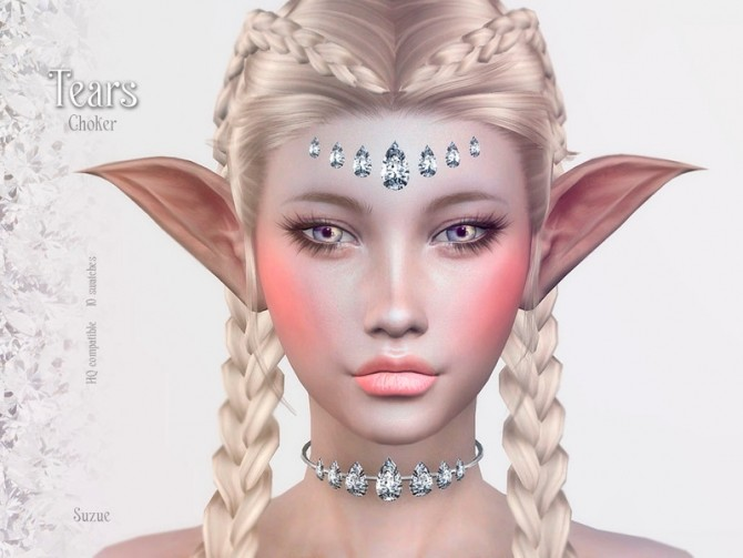 Sims 4 Tears Choker by Suzue at TSR