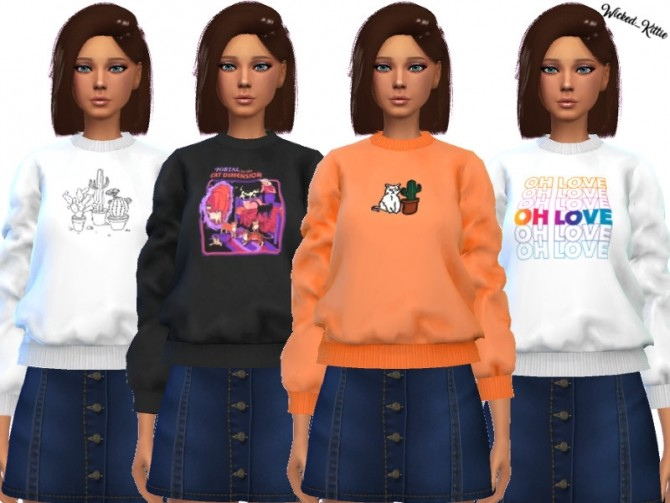 Sims 4 Zoey Sweatshirt by Wickedkittie at TSR