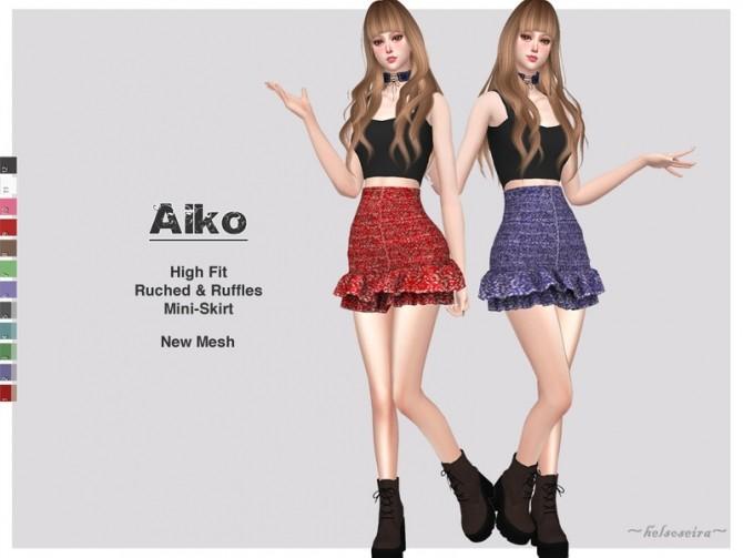 Sims 4 AIKO High waist mini skirt by Helsoseira at TSR