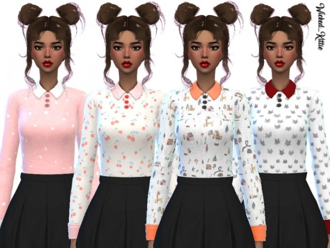 Sims 4 Stella Shirt by Wicked Kittie at TSR