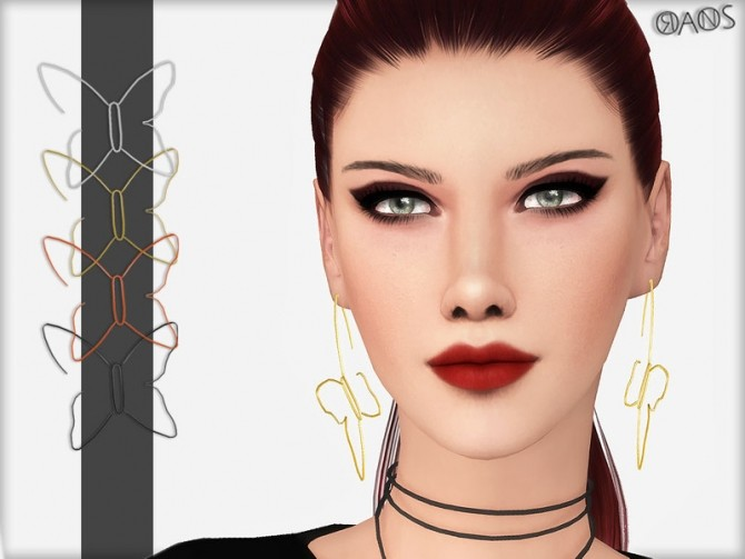Sims 4 Butterfly Earrings by OranosTR at TSR