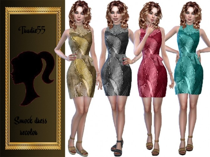 Sims 4 Smock dress recolor by TrudieOpp at TSR