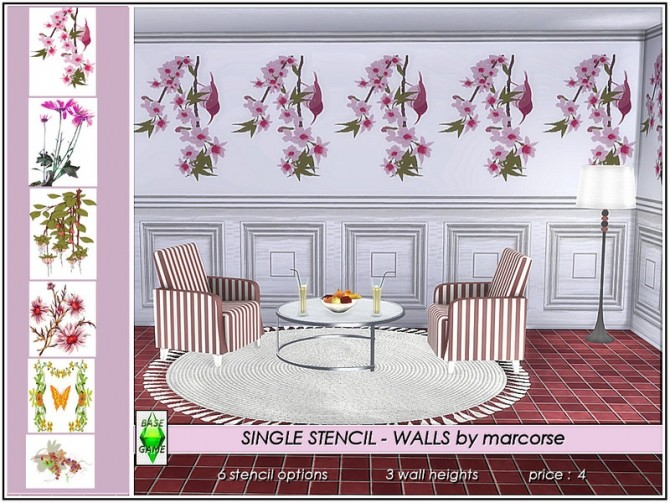 Sims 4 Single Stencil walls by marcorse at TSR