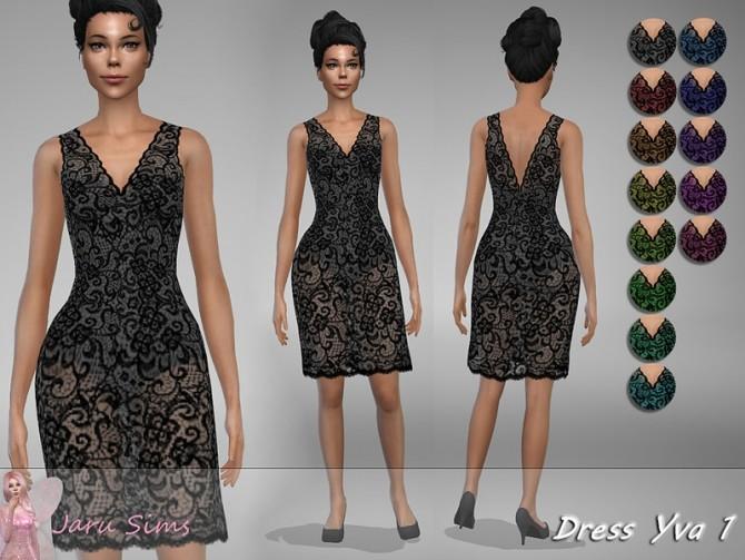 Sims 4 Dress Yva 1 by Jaru Sims at TSR