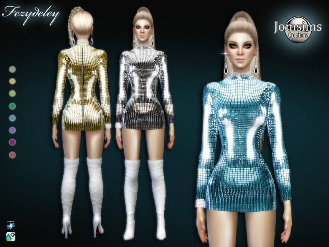 Sims 4 Fezydeley short dress with sleeves by jomsims at TSR