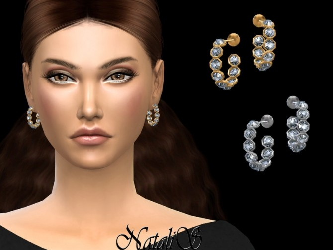 Open crystal hoop earrings by NataliS at TSR image 4815 670x503 Sims 4 Updates