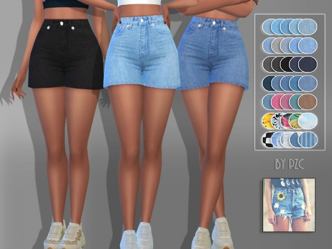Sunflower Denim Jeans Shorts 9094 by Pinkzombiecupcakes at TSR image 487 670x503 Sims 4 Updates