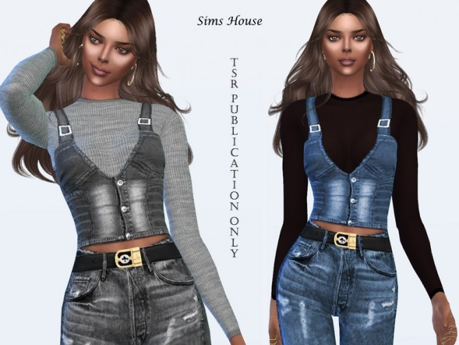 Sims 4 Denim vest with a long sleeve t shirt by Sims House at TSR