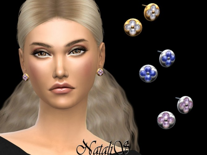 Sims 4 Flower motif stud earrings by NataliS at TSR