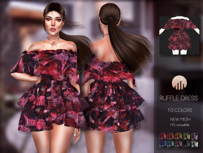 Ruffle Dress BD200 by busra tr at TSR image 503 670x503 Sims 4 Updates