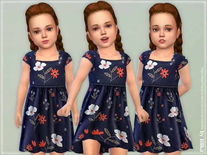 Sims 4 Navy Bloom Dress by lillka at TSR