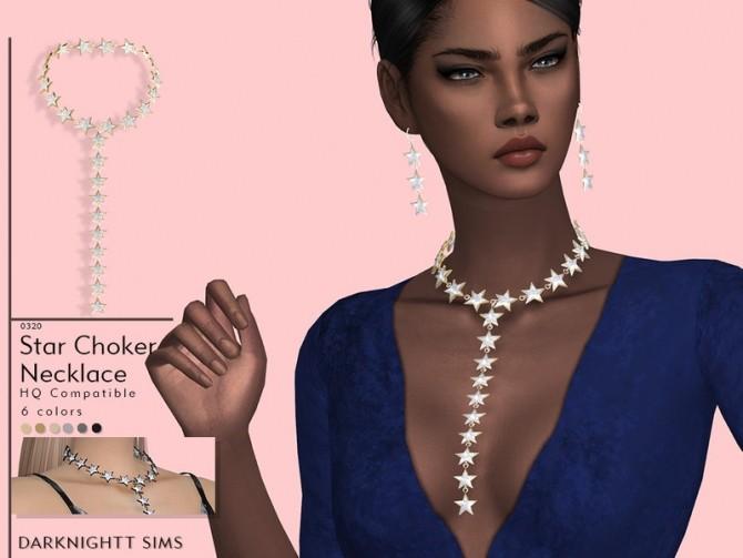 Sims 4 Star Choker Necklace by DarkNighTt at TSR