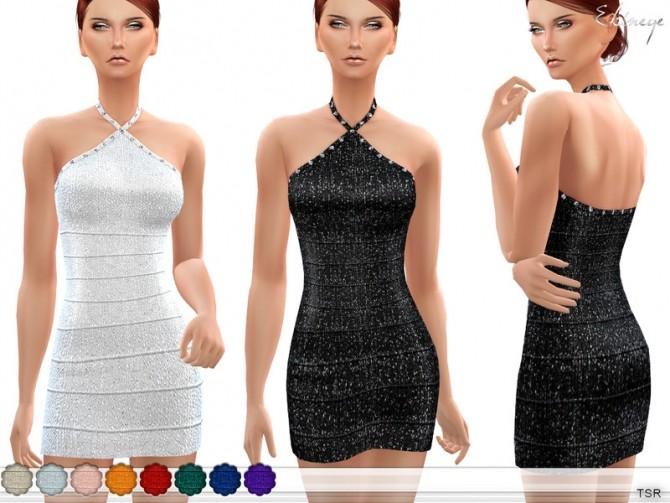 Metallic Halter Bandage Dress by ekinege at TSR image 5310 670x503 Sims 4 Updates