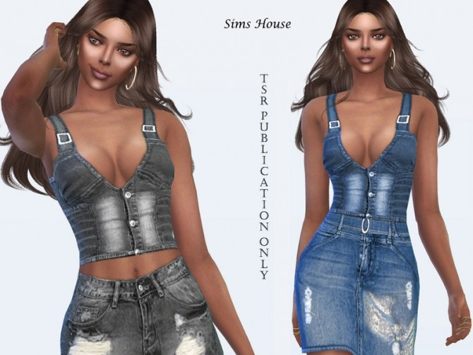 Sims 4 Womens denim vest by Sims House at TSR