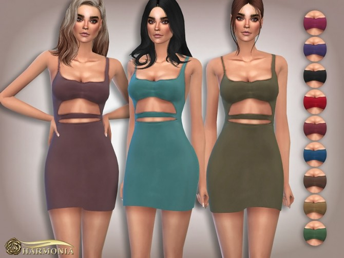 Sims 4 Slinky Cut Out Detail Mini Dress by Harmonia at TSR