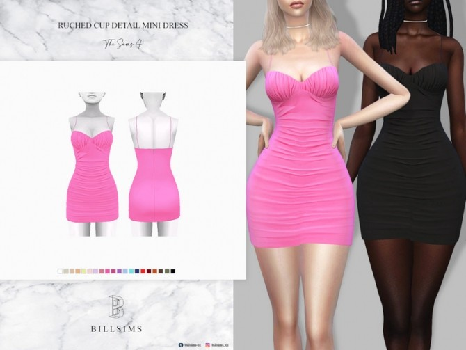 Sims 4 Ruched Cup Detail Mini Dress by Bill Sims at TSR