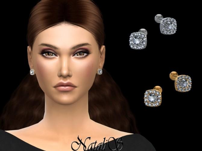 Sims 4 Square halo diamond stud by NataliS at TSR