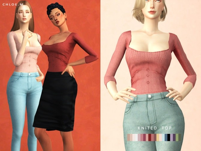 Knitted Top Shirt by ChloeMMM at TSR image 5713 670x503 Sims 4 Updates