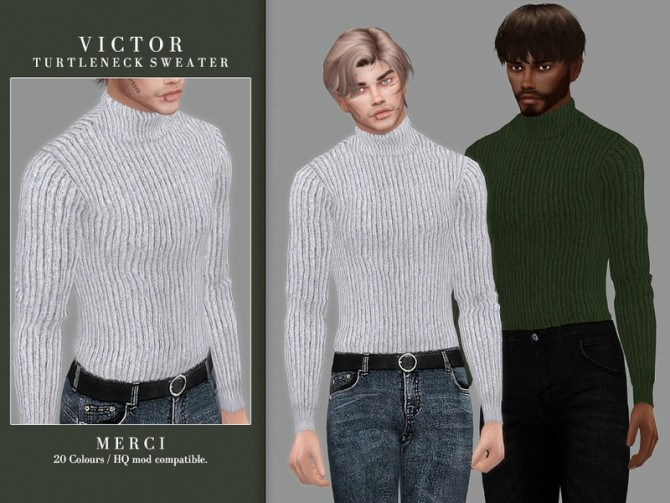 Sims 4 Victor Turtleneck Sweater by Merci at TSR