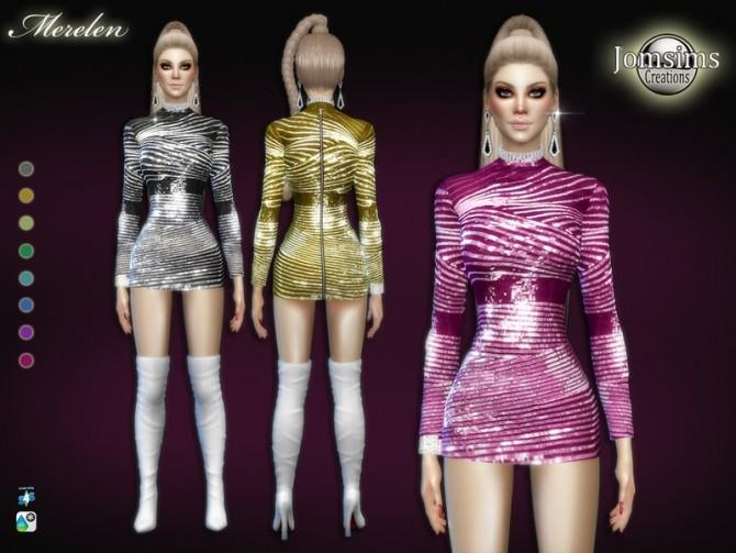 Sims 4 Merelen dress by jomsims at TSR