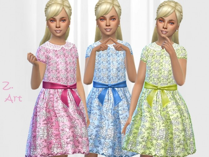 Sims 4 GirlZ 23 shiny dress for spring by Zuckerschnute20 at TSR