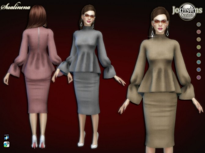 Sims 4 Sualinena dress by jomsims at TSR