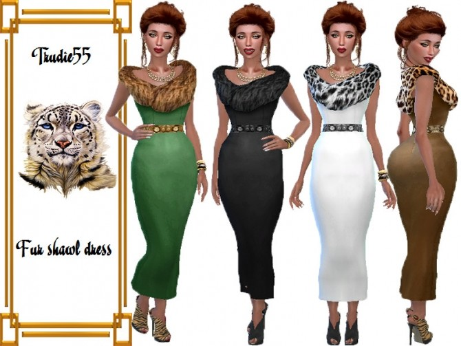 Sims 4 Fur shawl dress recolor by TrudieOpp at TSR