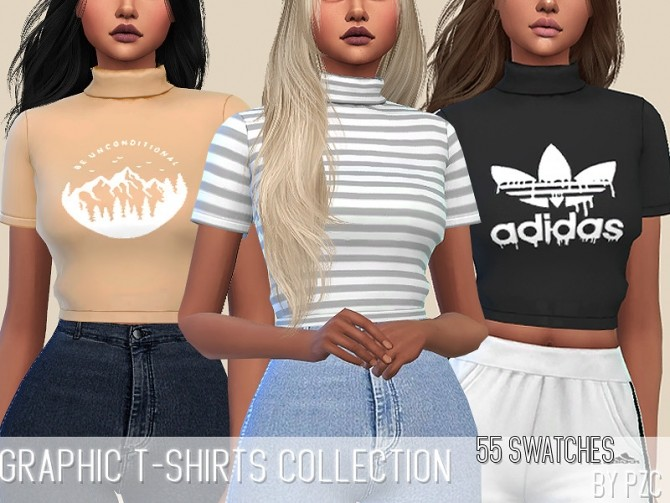 Graphic T shirts Collection by Pinkzombiecupcakes at TSR image 6125 670x503 Sims 4 Updates
