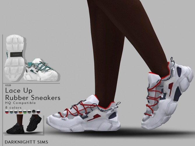 Lace Up Rubber Sneakers by DarkNighTt at TSR image 656 670x503 Sims 4 Updates