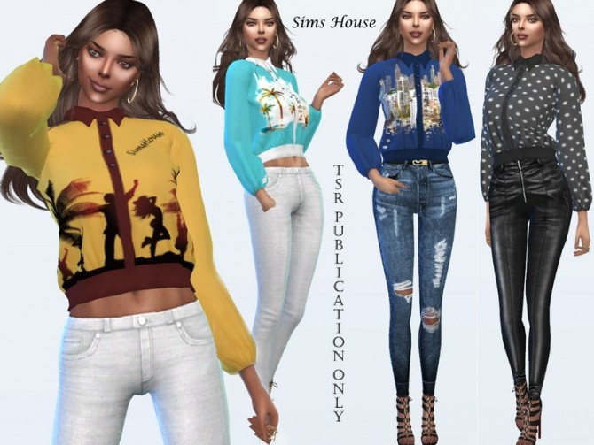 Sims 4 Designer womens long sleeve blouse by Sims House at TSR