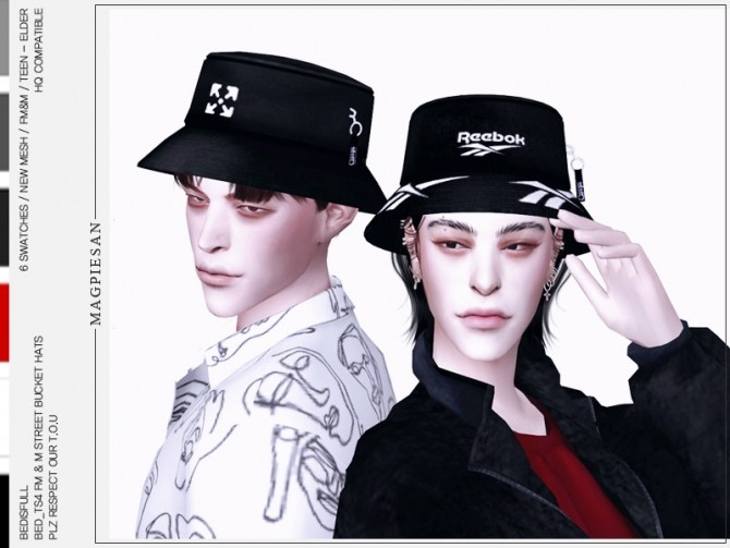 FM&M street bucket hats by magpiesan at TSR image 675 670x503 Sims 4 Updates