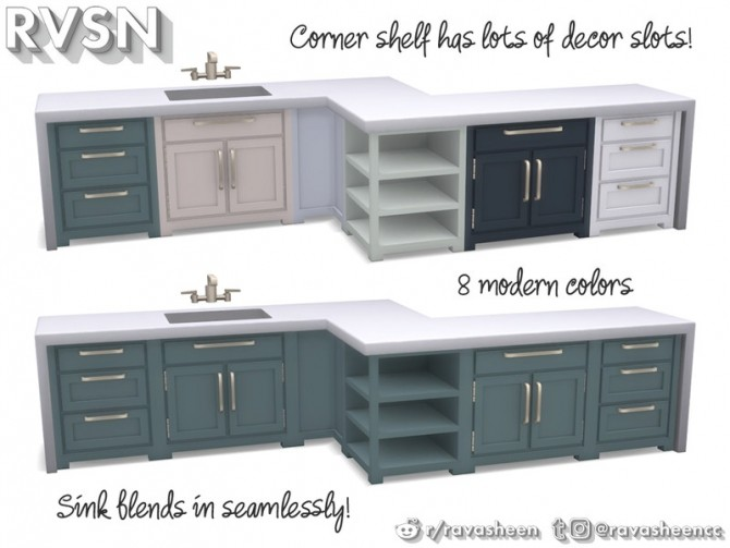 Simmer Down Kitchen Counter Set by RAVASHEEN at TSR image 68 670x503 Sims 4 Updates