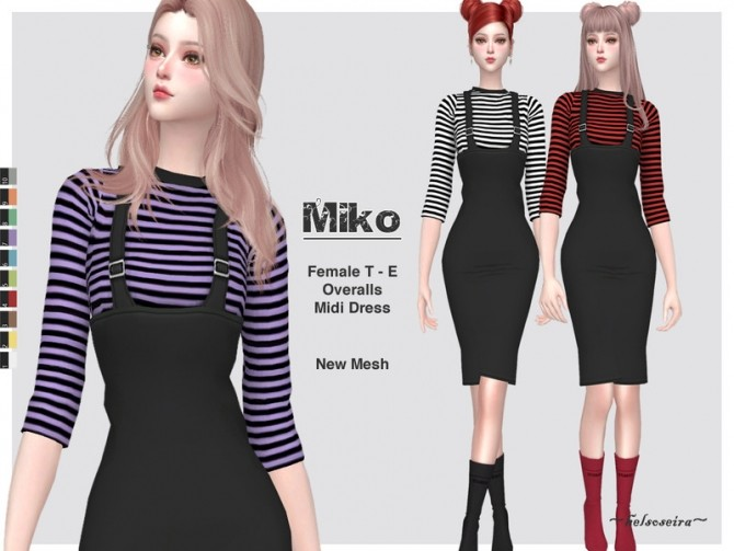 Sims 4 MIKO Overalls Midi Dress by Helsoseira at TSR