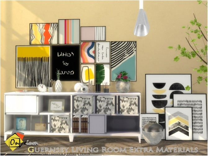 Sims 4 Guernsey Living Room Extra Materials by Onyxium at TSR