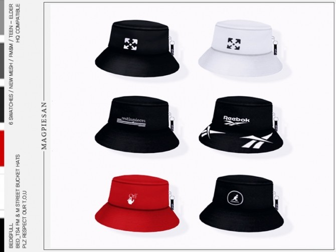 Sims 4 FM&M street bucket hats by magpiesan at TSR