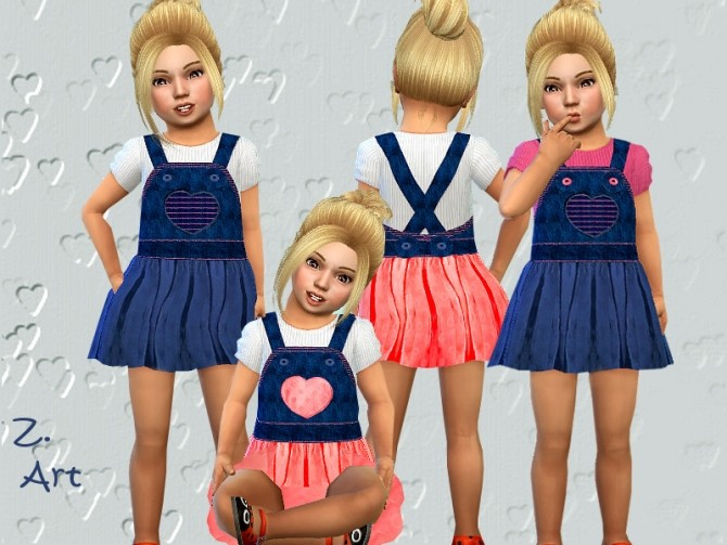 Sims 4 Denim and cotton fashionable outfit for baby girls by Zuckerschnute20 at TSR
