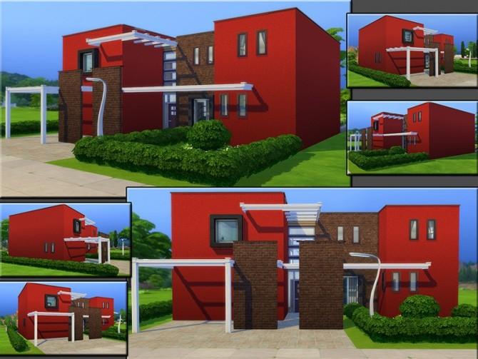 Sims 4 MB Modern Brick Row House by matomibotaki at TSR
