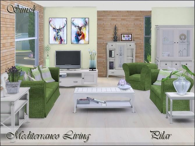 Sims 4 Mediterraneo Living by Pilar at TSR