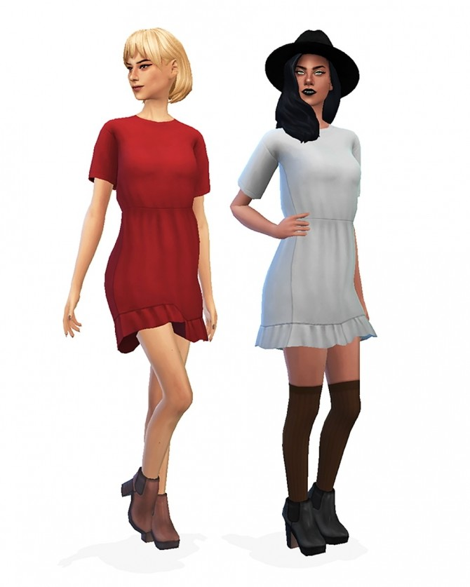 Sims 4 Witch wardrobe: frill detail dress by Christina at Sulsulhun