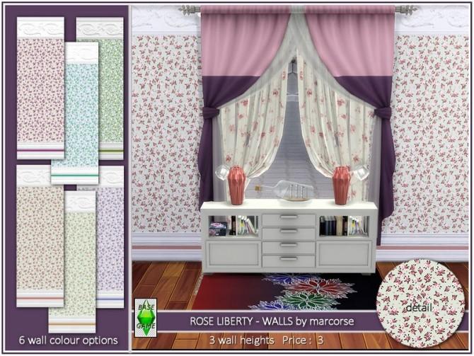 Sims 4 Rose Liberty Walls by marcorse at TSR