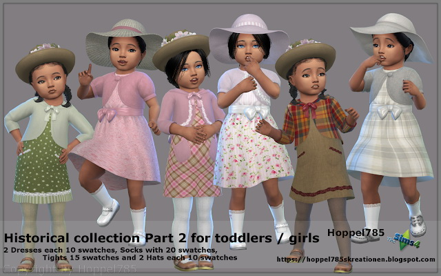 Sims 4 Historical Collection Part 2 For Toddlers girls at Hoppel785