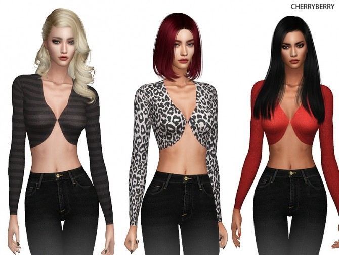 Sims 4 Cropped Blouse by CherryBerrySim at TSR