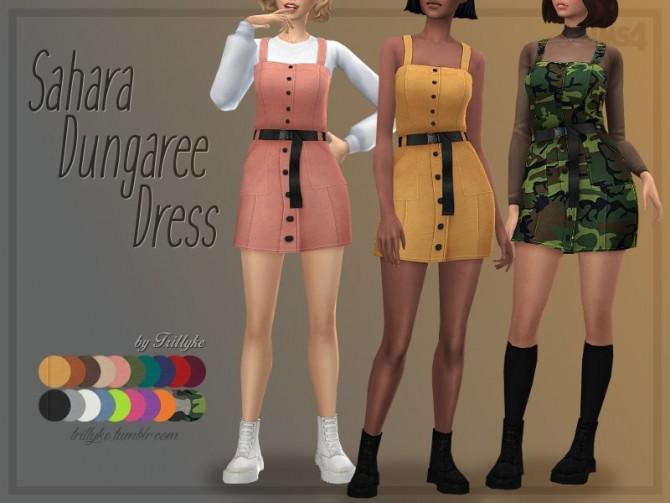 Sims 4 Sahara Dungaree Dress by Trillyke at TSR