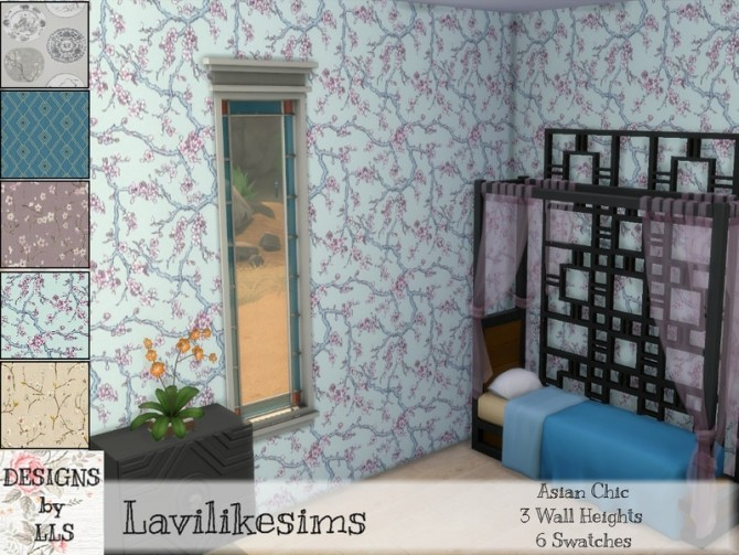 Sims 4 Asian Collection walls by lavilikesims at TSR