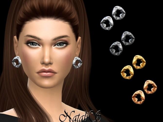 Sims 4 Crumpled metal earrings by NataliS at TSR