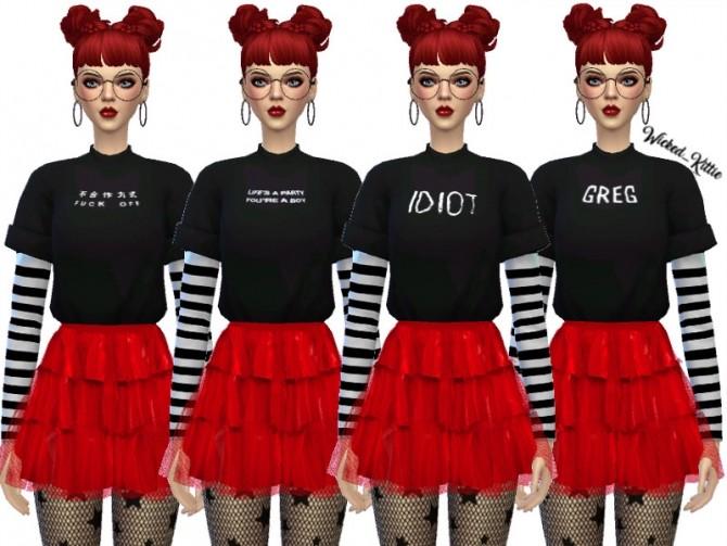 Sims 4 Kara Layered Tee Shirts by Wicked Kittie at TSR